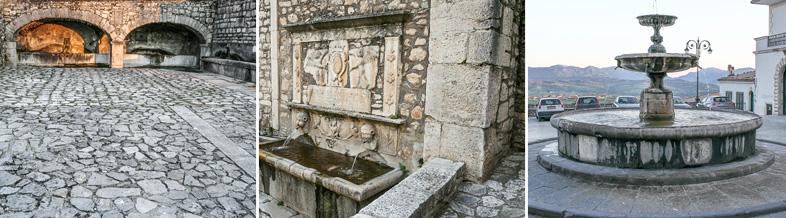 Gesualdo: Fontane di P.zza Canale, via Municipio, P.zza Umberto I (da sinistra a destra)