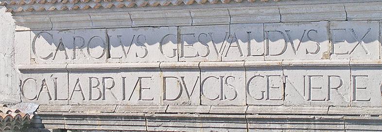 Cornicione del cortile interno del Castello di Gesualdo (particolare)