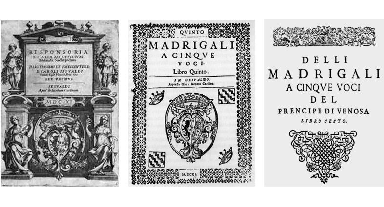 Frontespizi delle opere gesualdiane stampate dal Carlino nel Castello di Gesualdo